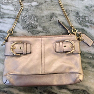 New Vintage Metallic GOLD Leather Coach Authentic